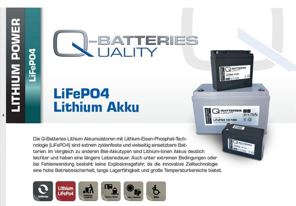 Q-Batteries Lithium Ionen AKKU 12,8 Volt LifePO4