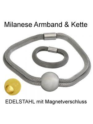 Milanaise Geflecht Hals- oder Armband aus Edelstahl
