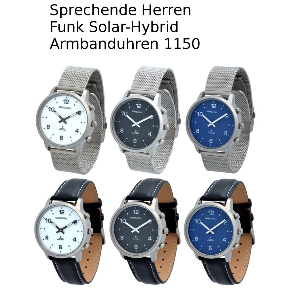 Sprechende Herren Funk Solar-Hybrid Armbanduhren 1150